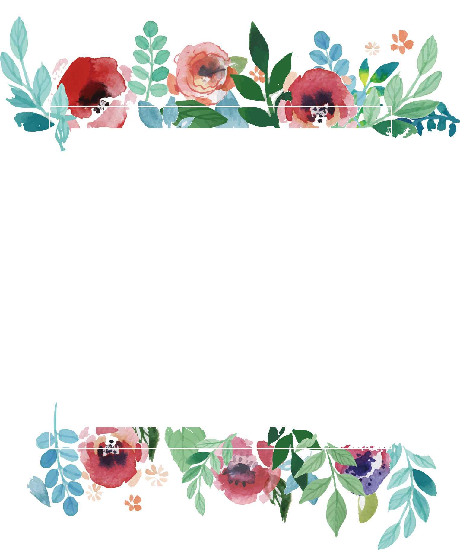 Picture Flower Frame Wedding Watercolor Invitation PNG Image