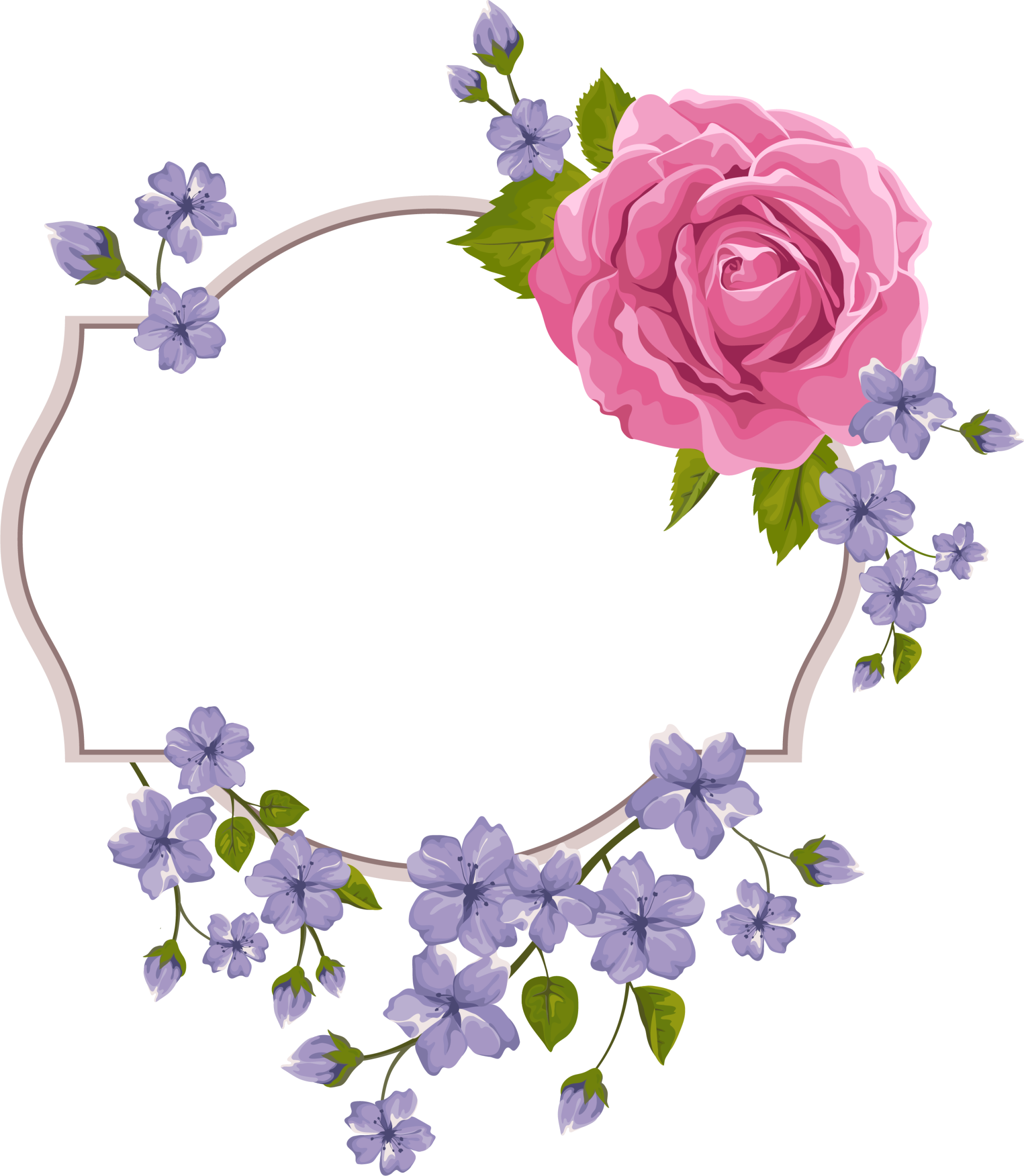 Flower Purple Frame Violet Invitation Wedding PNG Image