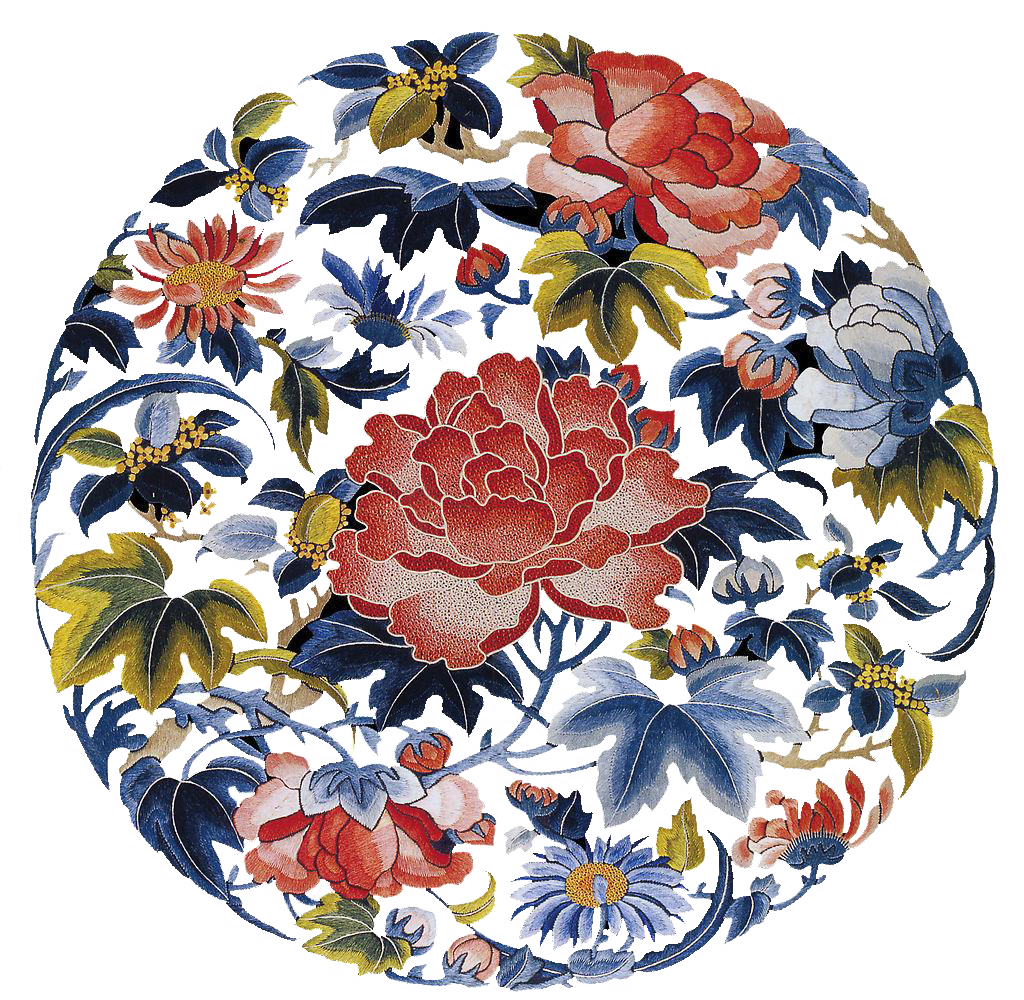 Plate Designs Flower Chinese Traditional China Embroidery PNG Image