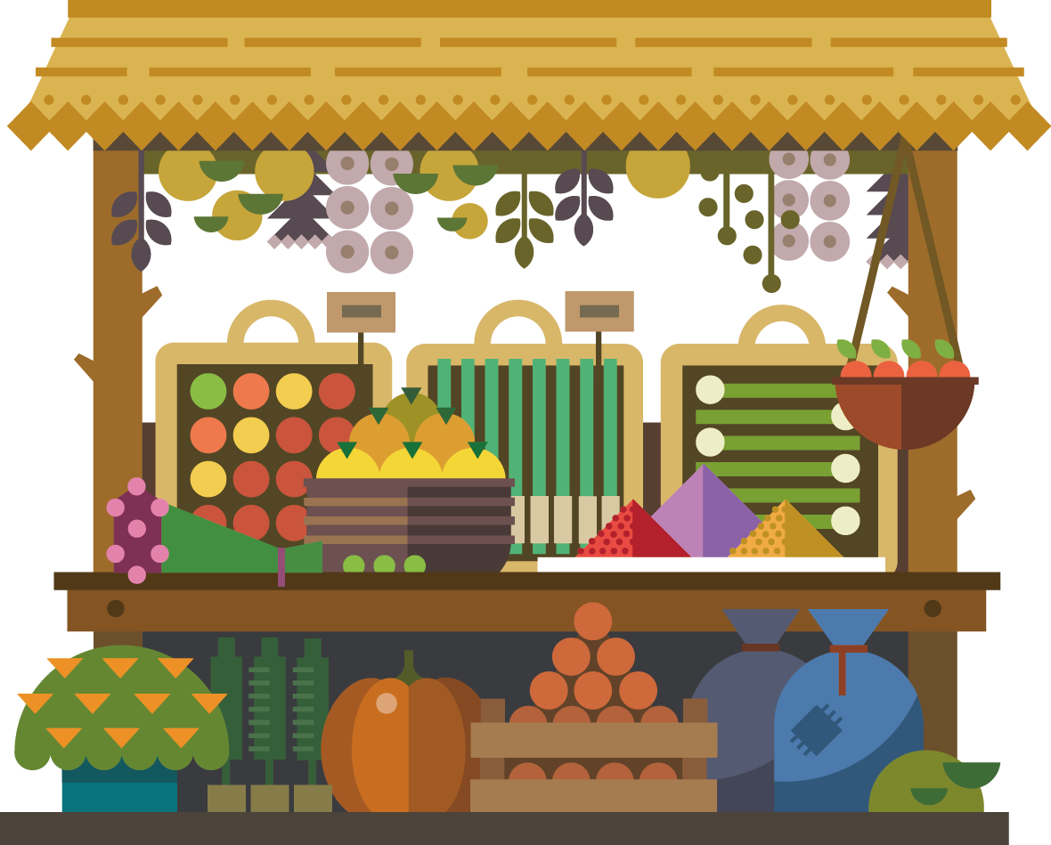 Marketplace Travel Illustration Royalty-Free Fruit Design Creative PNG Image