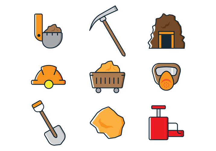 Helmets Mining Shovel Gold Coal Ax Icon PNG Image