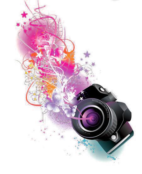 Pink Graphic Purple Text Lens Camera Design PNG Image