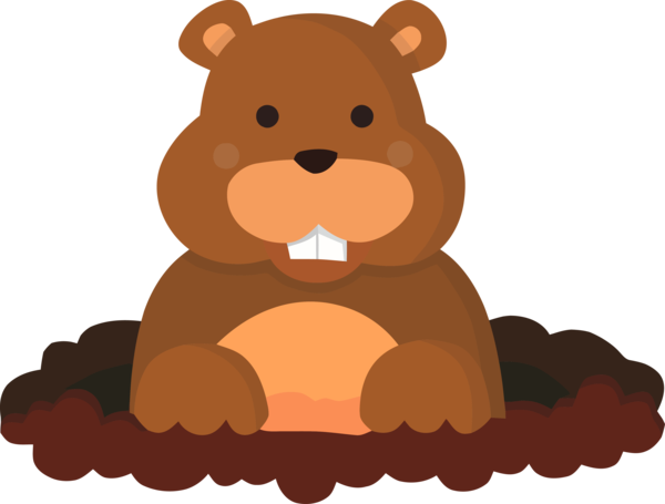 Groundhog Day Teddy Bear Brown For Countdown PNG Image