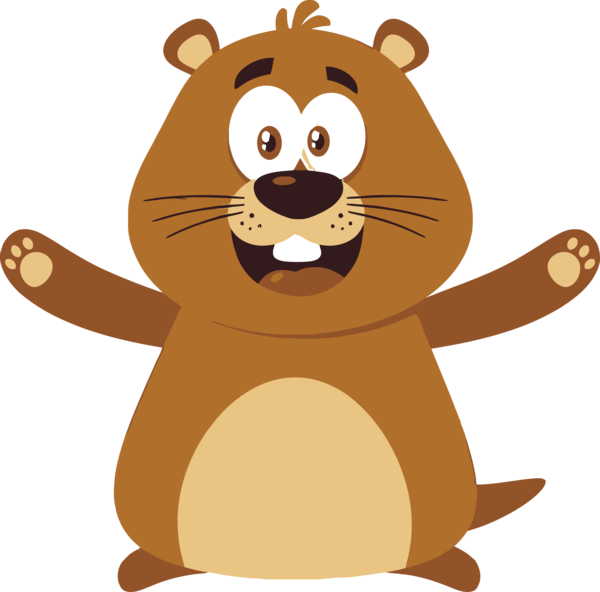 Groundhog Day Cartoon Beaver For Ball Drop PNG Image
