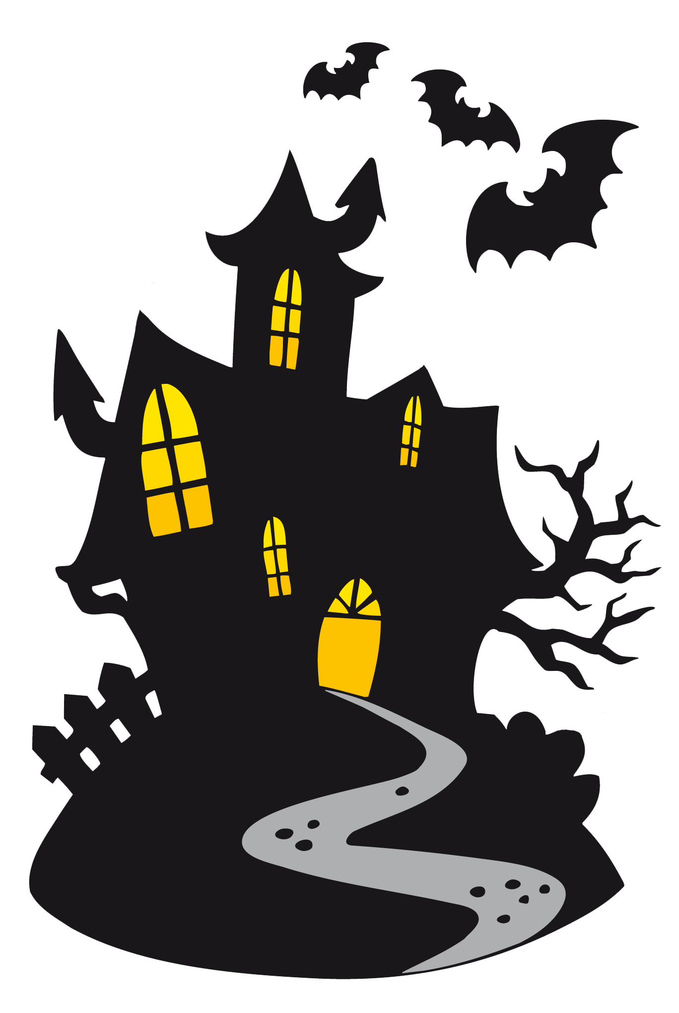 Ghost Haunted Castle Halloween Cartoon Free Clipart HQ PNG Image
