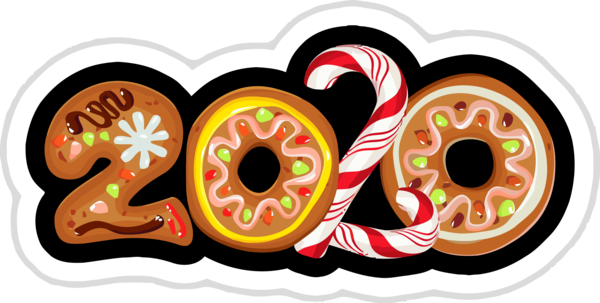 New Year Doughnut Pastry Font For Happy 2020 Holiday PNG Image