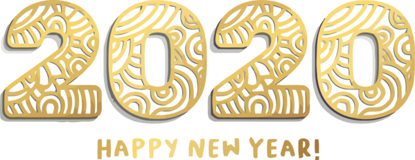 New Year 2020 Font Text Number For Happy Holiday PNG Image