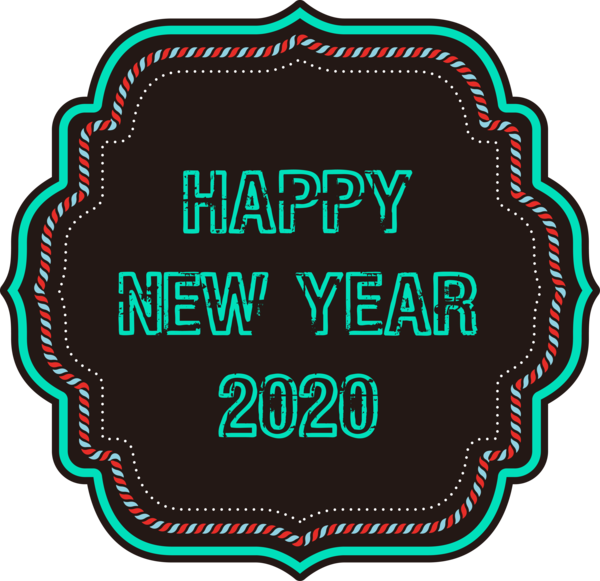 New Year Label For Happy 2020 Celebration PNG Image