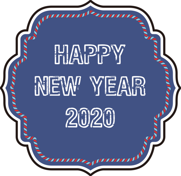 New Year Label For Happy 2020 Themes PNG Image