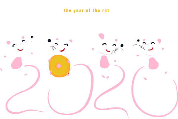 New Year 2020 Pink Text Heart For Happy Fireworks PNG Image