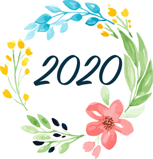 New Year Plant Flower Greeting For Happy 2020 Greeting Cards PNG Image