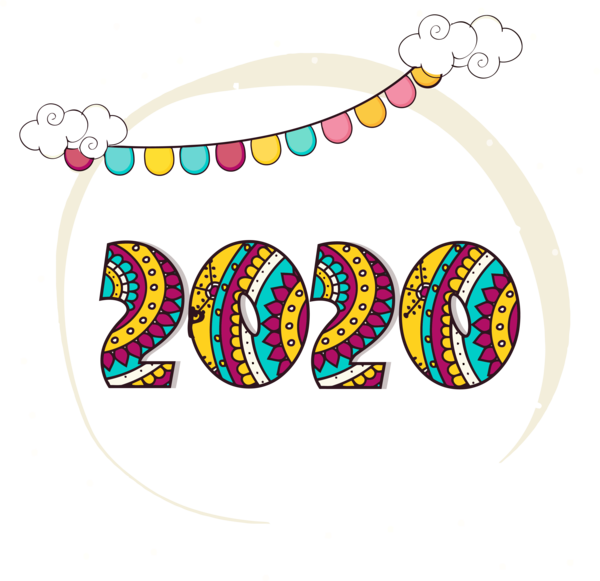 New Year Text Circle Font For Happy 2020 Celebration PNG Image