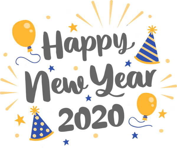 New Year 2020 Text Font Celebrating For Happy Goals PNG Image