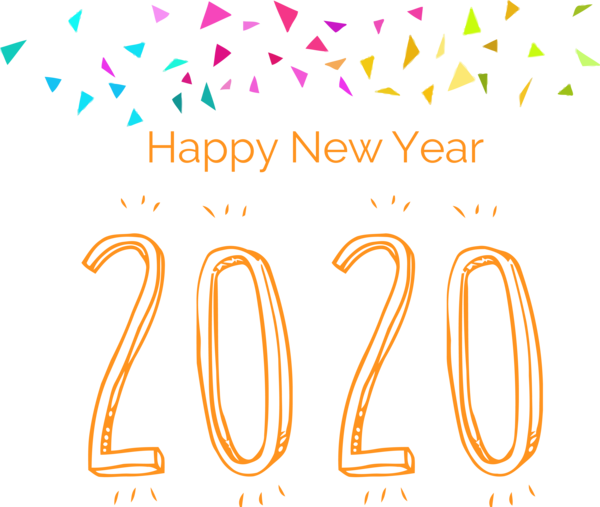 New Year Text Font Line For Happy 2020 Day 2020 PNG Image