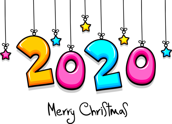 New Year 2020 Text Font Line For Happy Destinations PNG Image