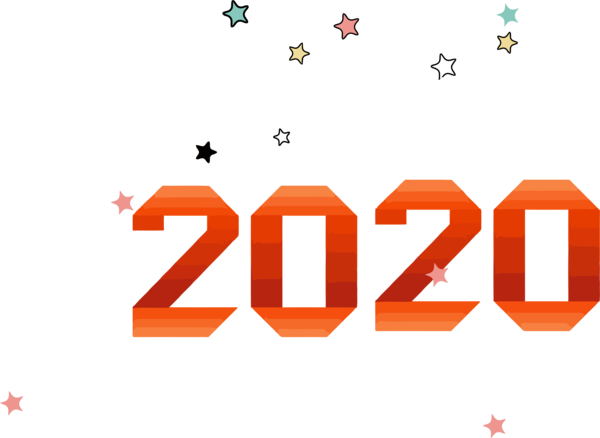 New Year Text Font Line For Happy 2020 Greeting Cards PNG Image