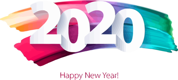 New Years 2020 Text Font Logo For Happy Year Colors PNG Image