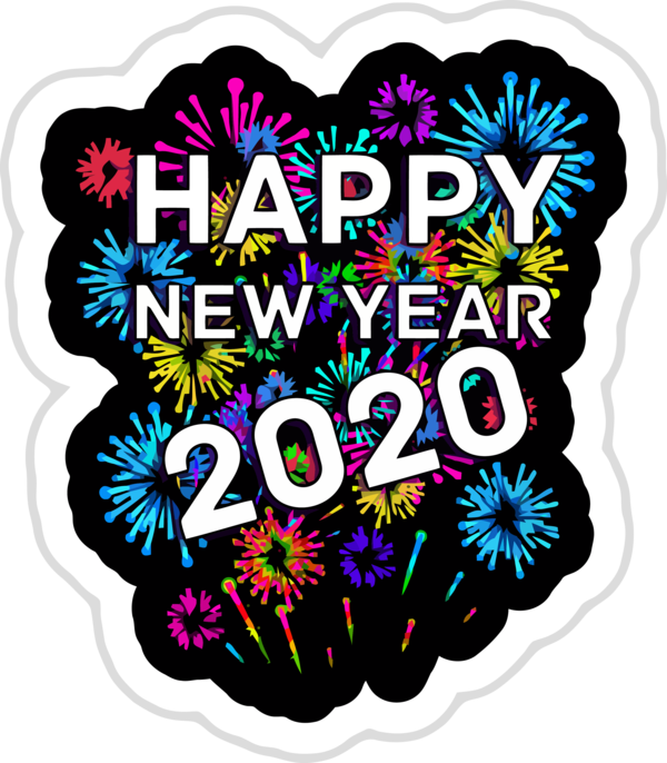 New Year Text Heart Sticker For Happy 2020 Games PNG Image