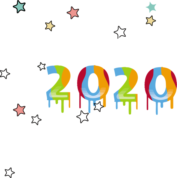 New Year Text Line Font For Happy 2020 Destinations PNG Image