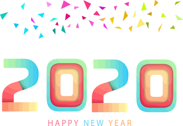 New Year Text Line Font For Happy 2020 Activities PNG Image