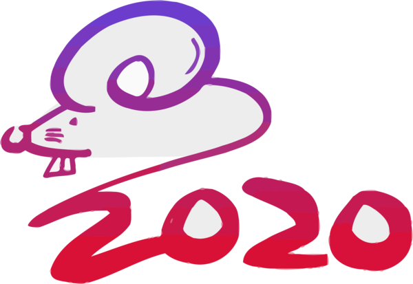 New Year 2020 Text Pink Font For Happy Celebration 2020 PNG Image
