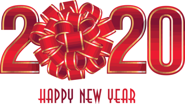 Download New Year 2020 Text Red Font For Happy Greeting ...