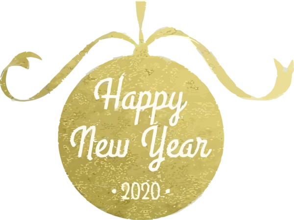 New Year 2020 Text Yellow Font For Happy Lyrics PNG Image