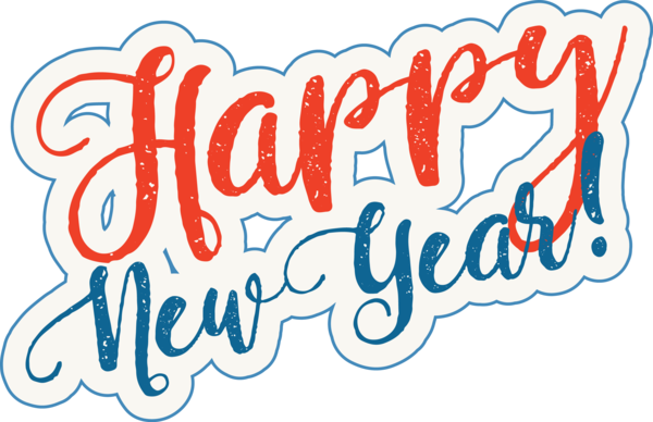 New Year Font Text Calligraphy For Happy Day PNG Image