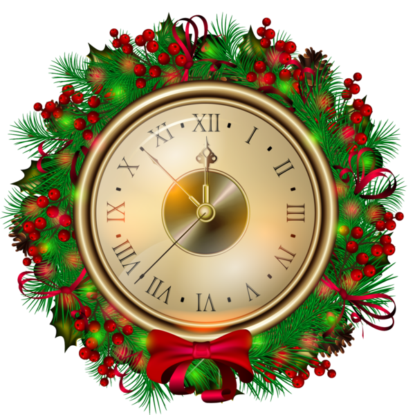 Santa Claus Christmas Clock Decor For Colors PNG Image