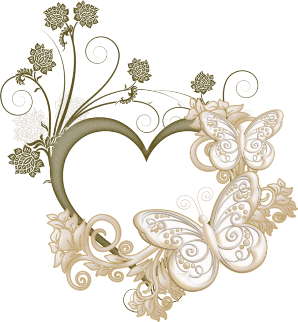 Butterfly Heart Frame Love Picture Free Clipart HQ PNG Image