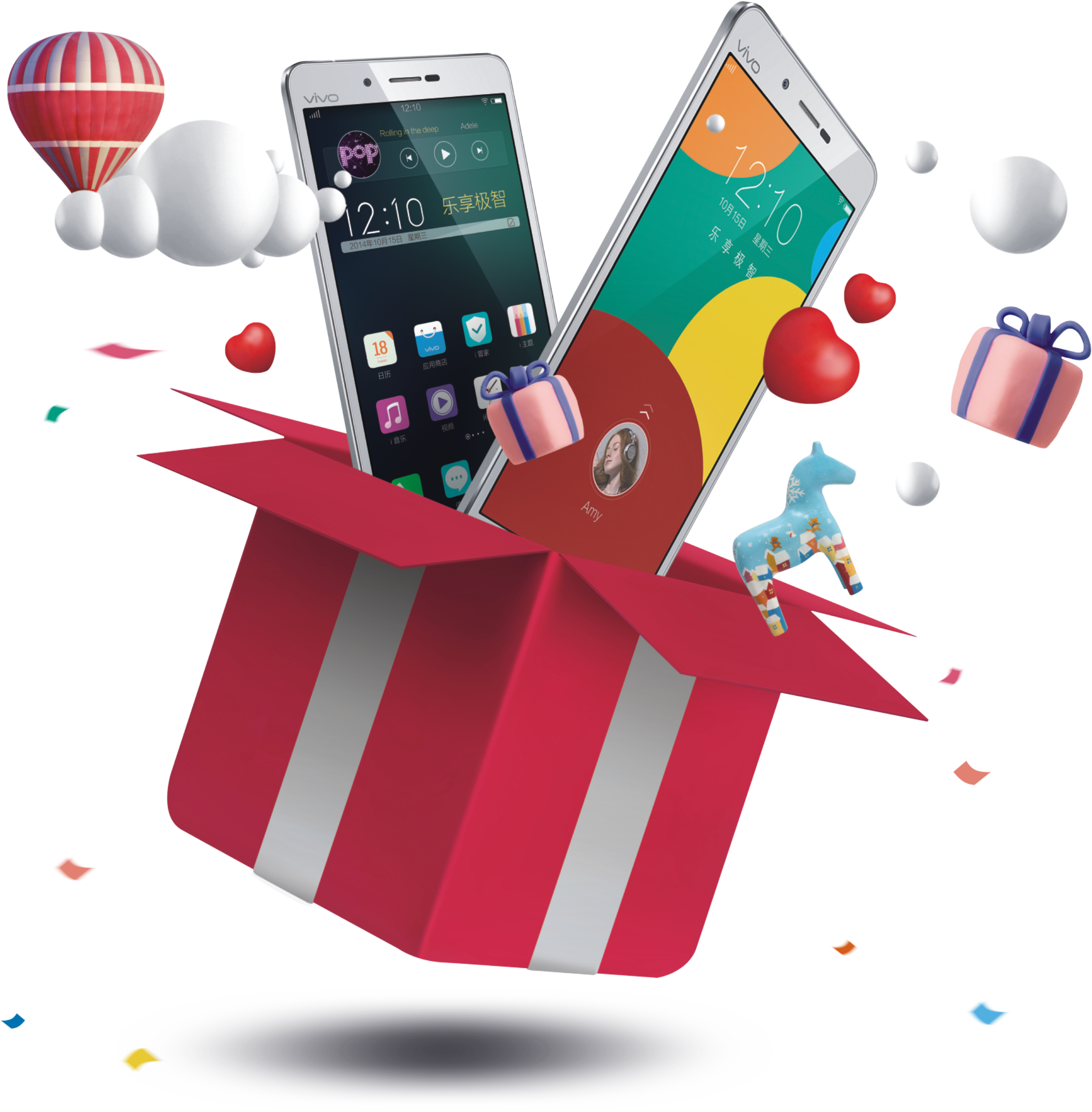 Box Fly Smartphone Court Gift Of Phone PNG Image