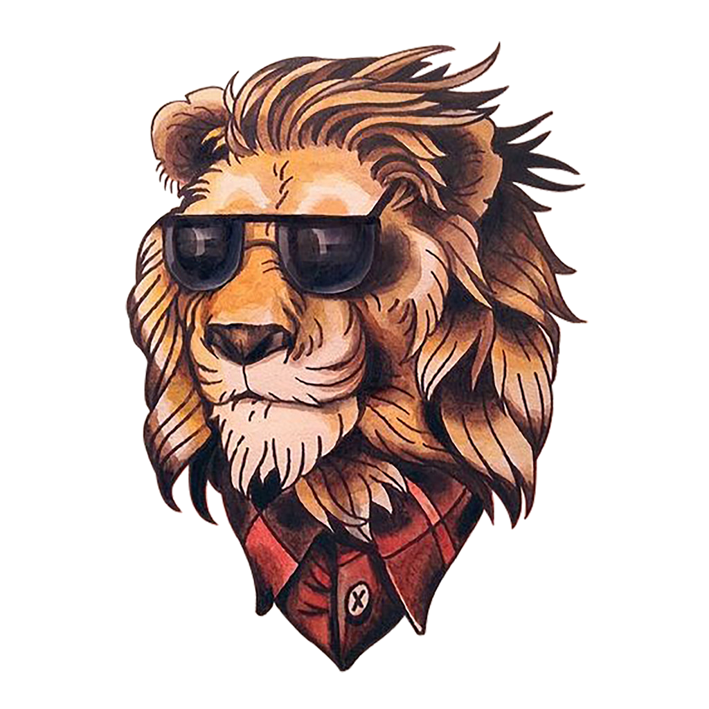 School Old Painted Flash (Tattoo) Head Lion PNG Image