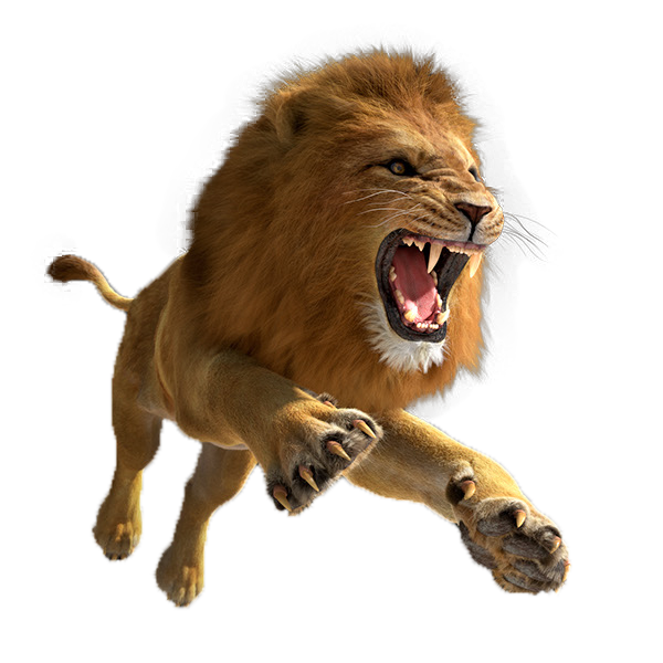 Computer Simulator Escape Hunter Leaping Tiger Lion PNG Image