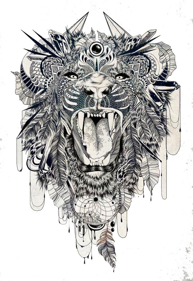 Tattoo Sleeve Tiger Lion Beast Lower-Back PNG Image