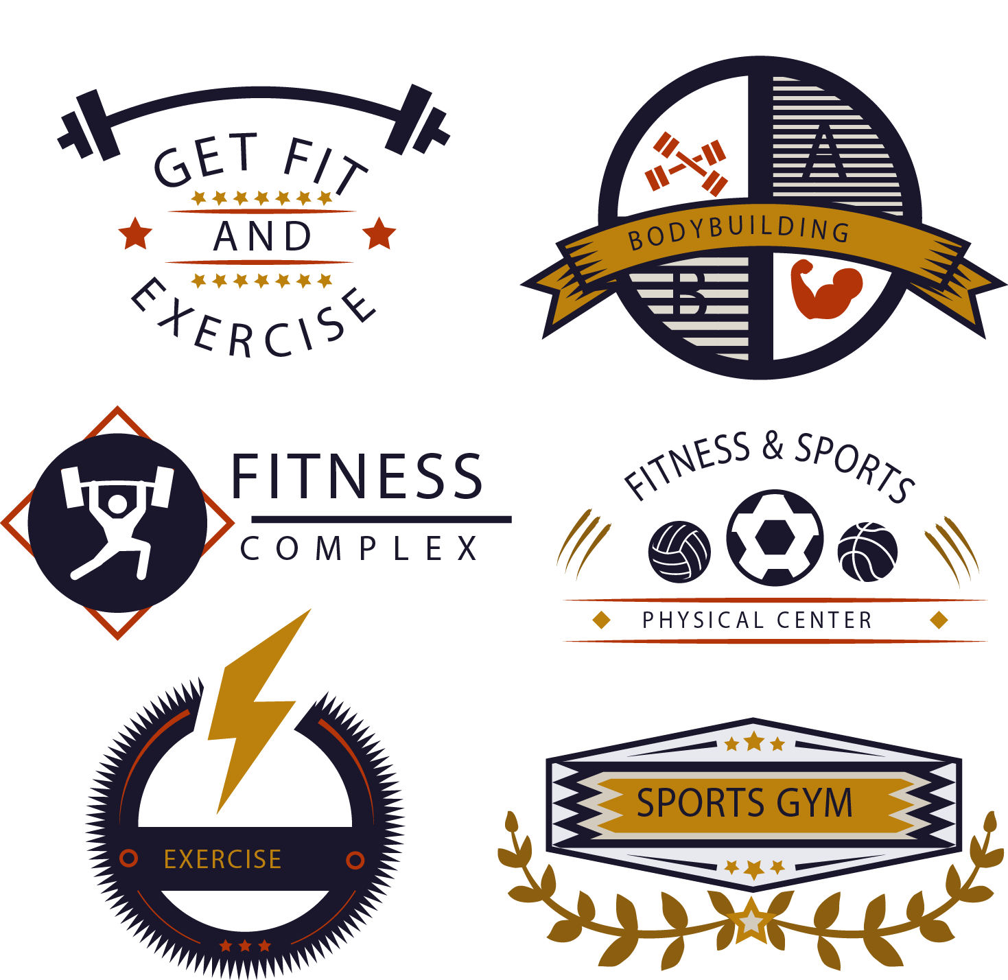 Centre Gym Golds Vector Fitness Logo Icon PNG Image