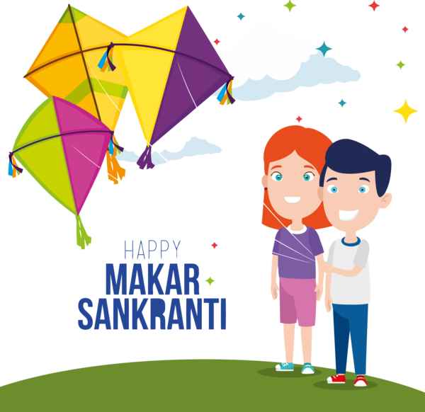 Makar Sankranti Line Child Happy For Ball Drop PNG Image