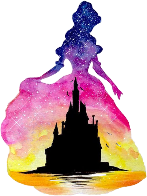 Ariel Belle Aurora Watercolor Painting Princess Disney PNG Image