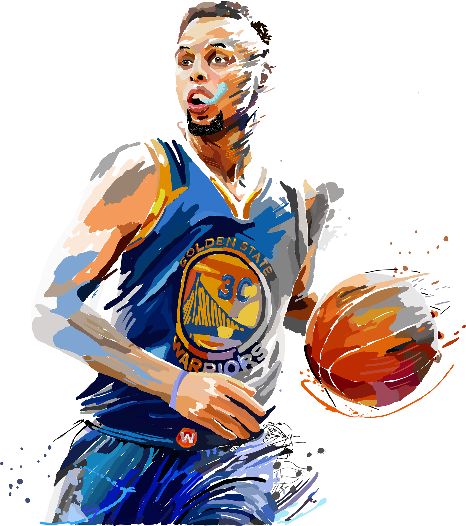 Golden Ball Art Painting State Warriors Stephen PNG Image