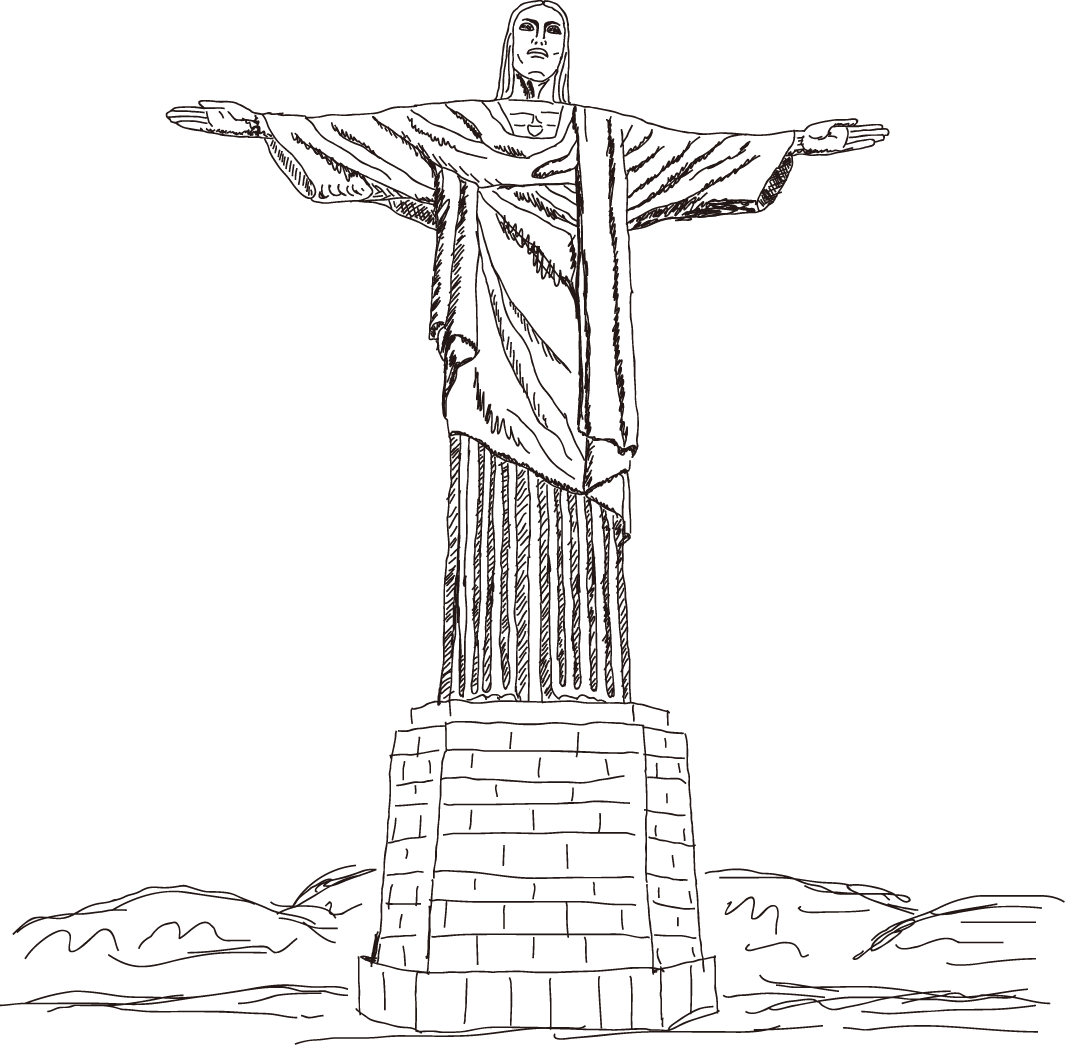 Brazil Christ Illustration Corcovado Redeemer Vector Statue PNG Image