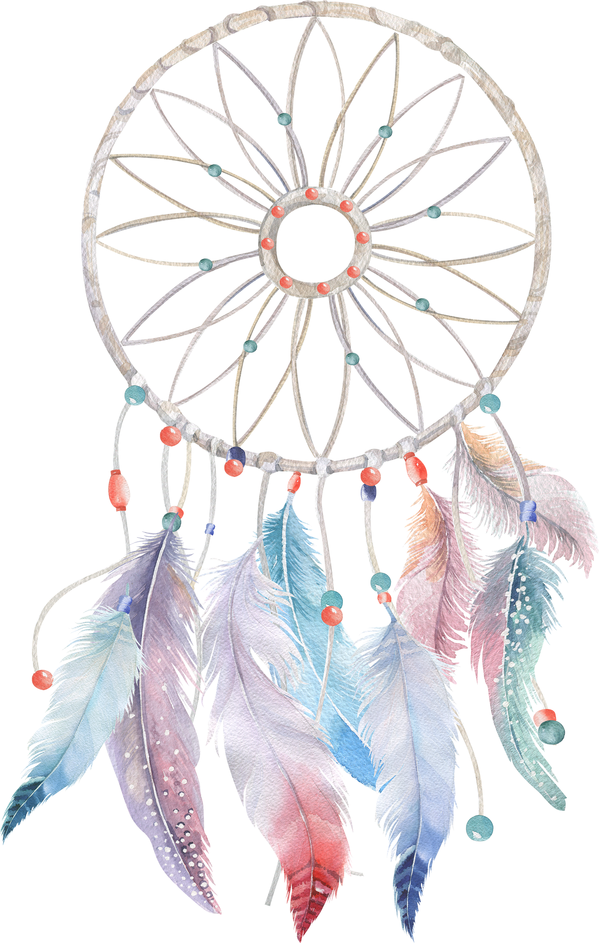 Watercolor Feather Boho-Chic Painting Dreamcatcher Free Transparent Image HD PNG Image