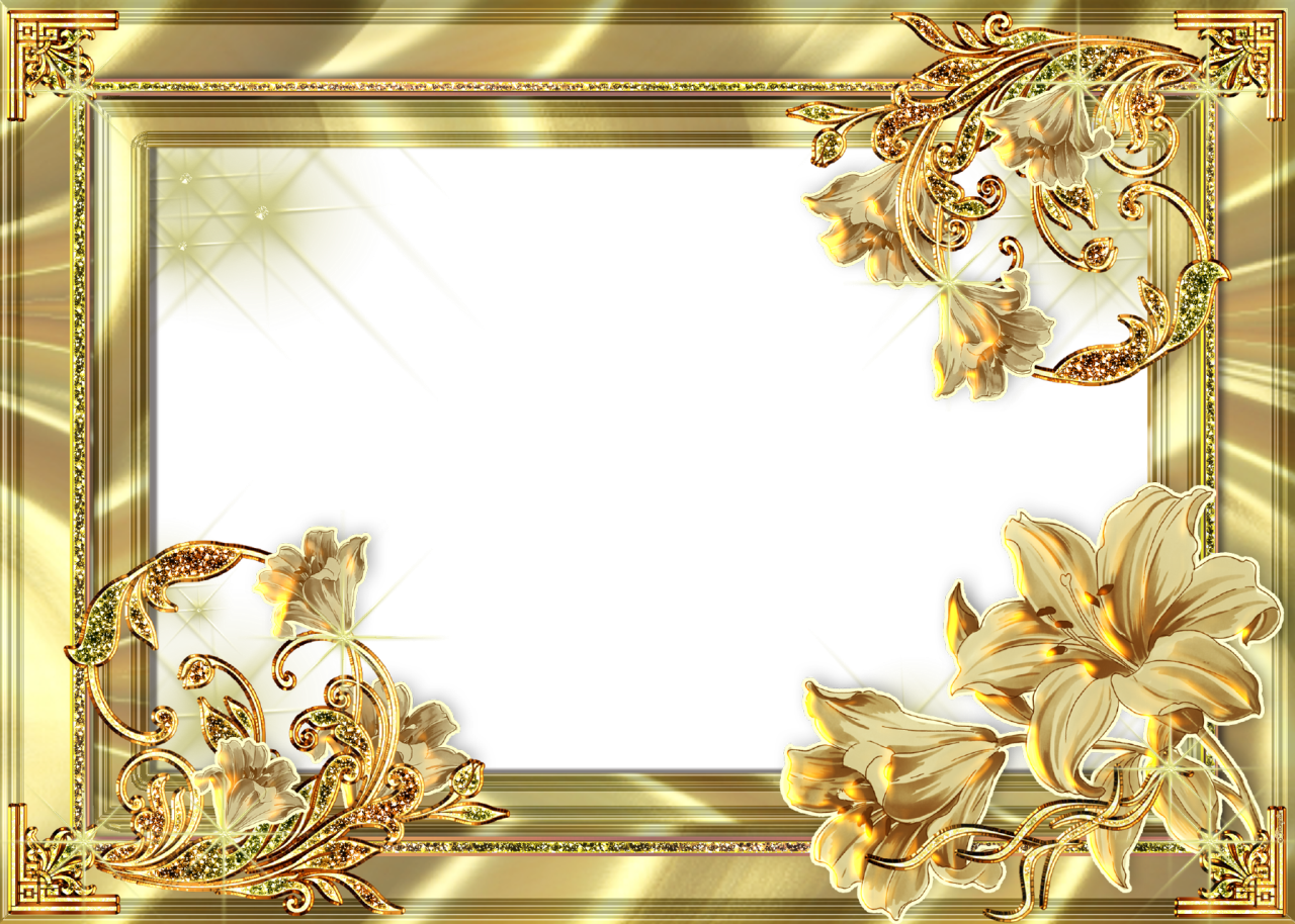 Picture Frame Flower Gold Photos PNG Free Photo PNG Image