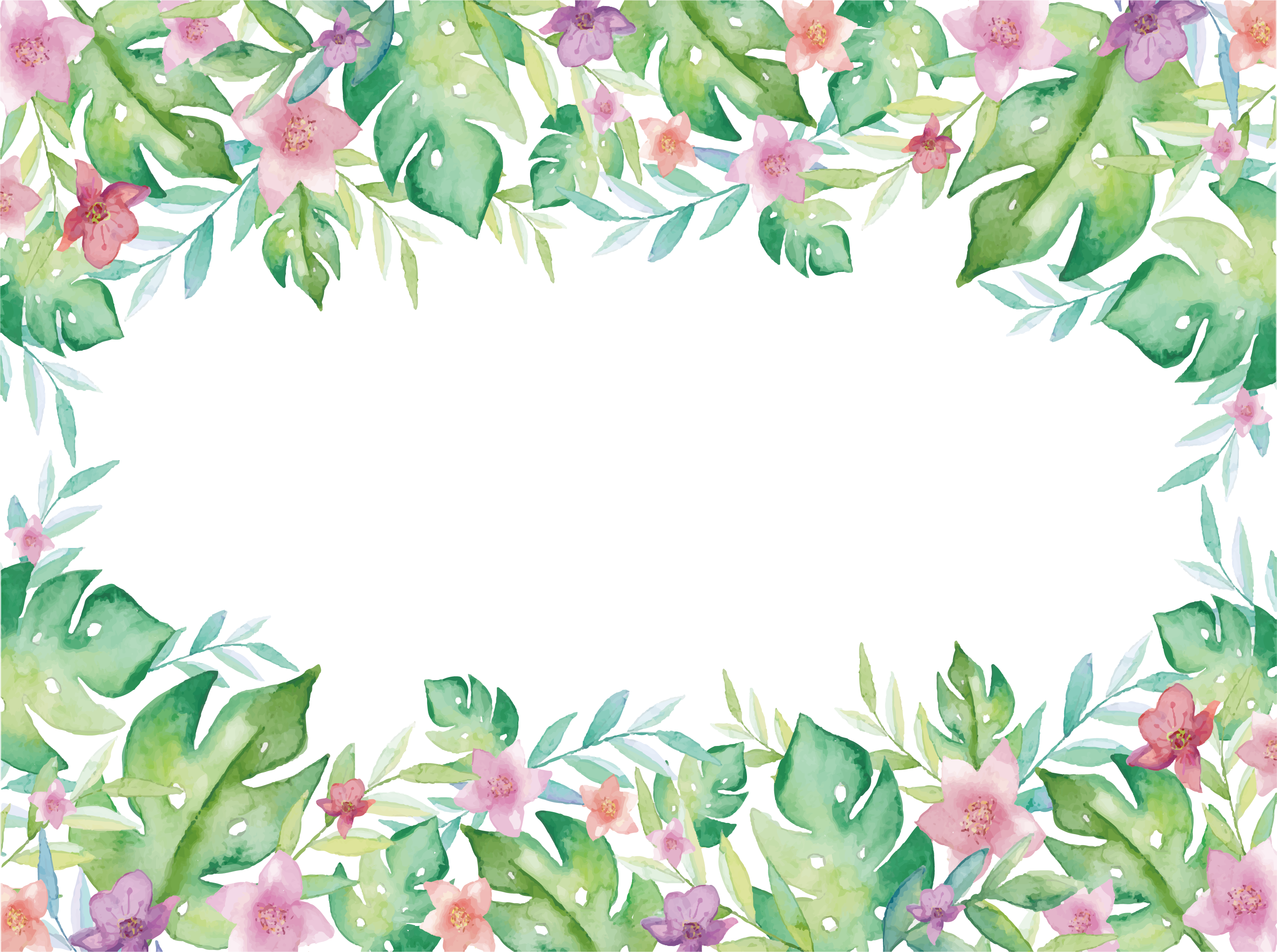 Watercolor Euclidean Plant Vector Border Free HD Image PNG Image