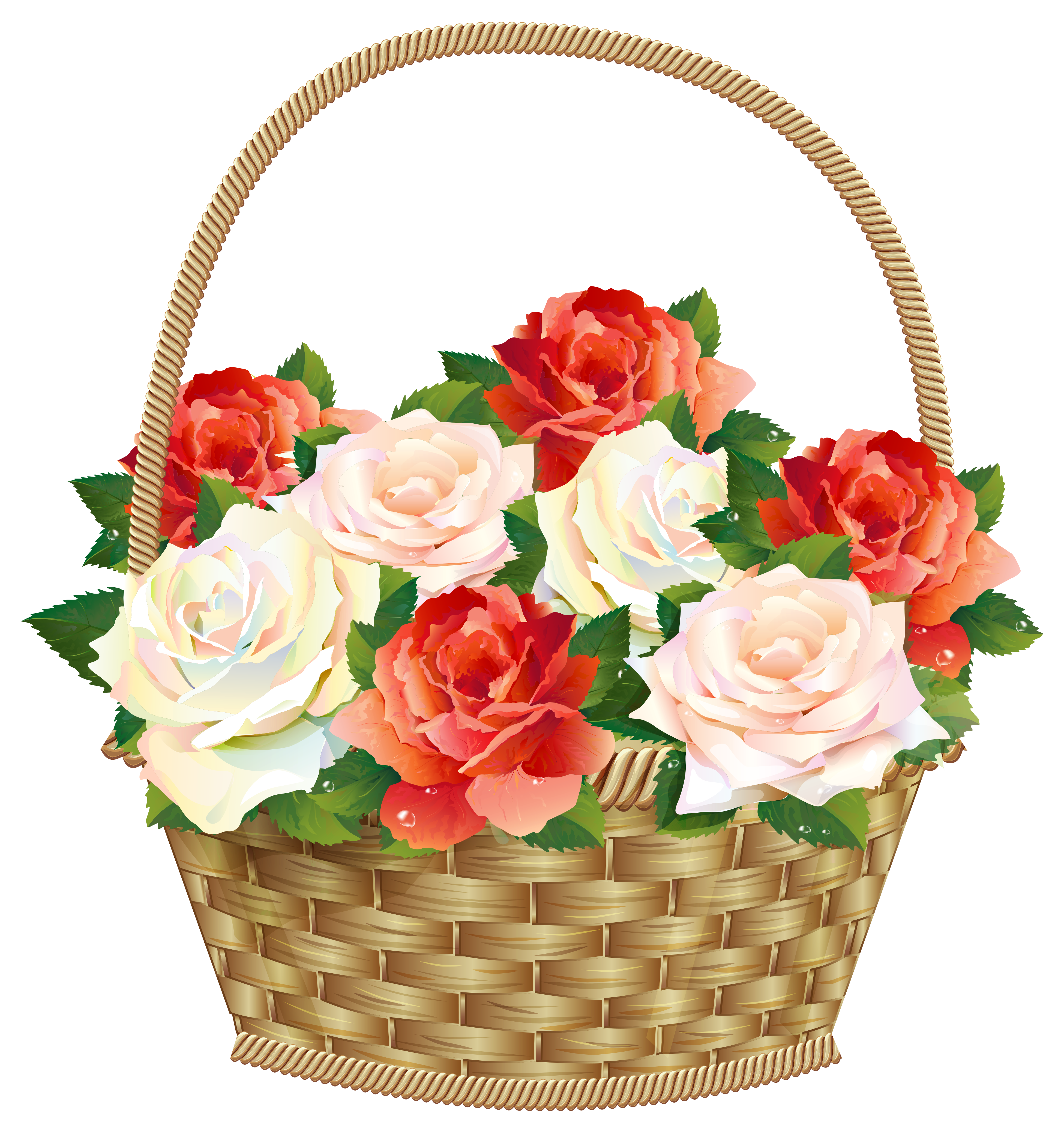 Basket Roses In Transparent Icon PNG File HD PNG Image