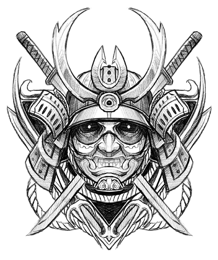 Ghost Tattoo Sketch Japanese Samurai Avatar Drawing PNG Image
