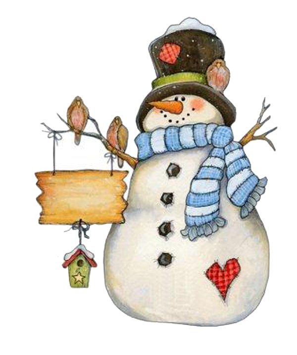 Snowman Standing On Claus Greeting Bird Arm PNG Image