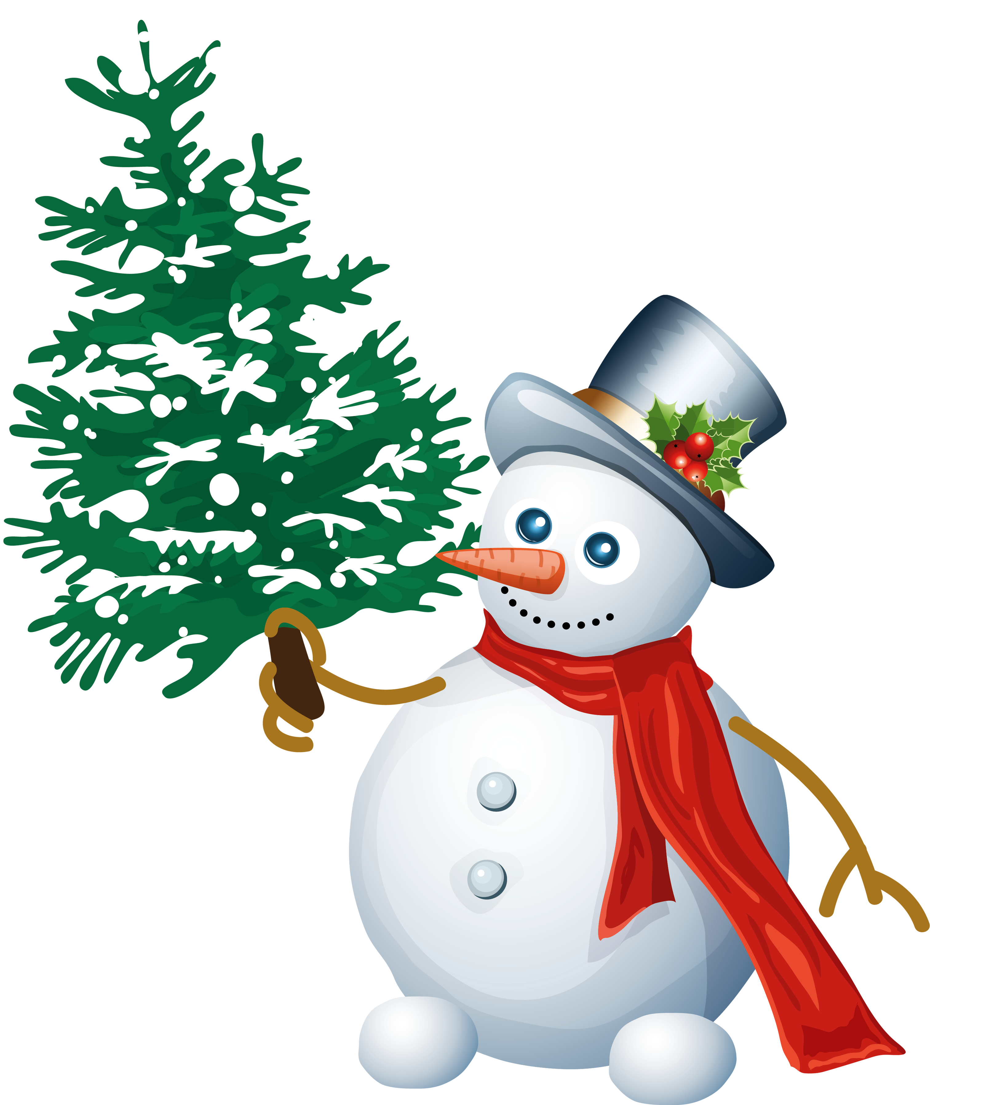 Snowman Claus Tree Santa With Christmas PNG Image