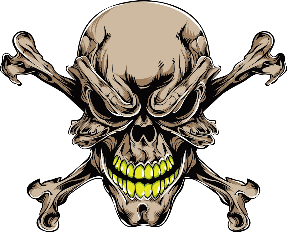 Tattoo Prints Skull Brown Bones Vector Human PNG Image