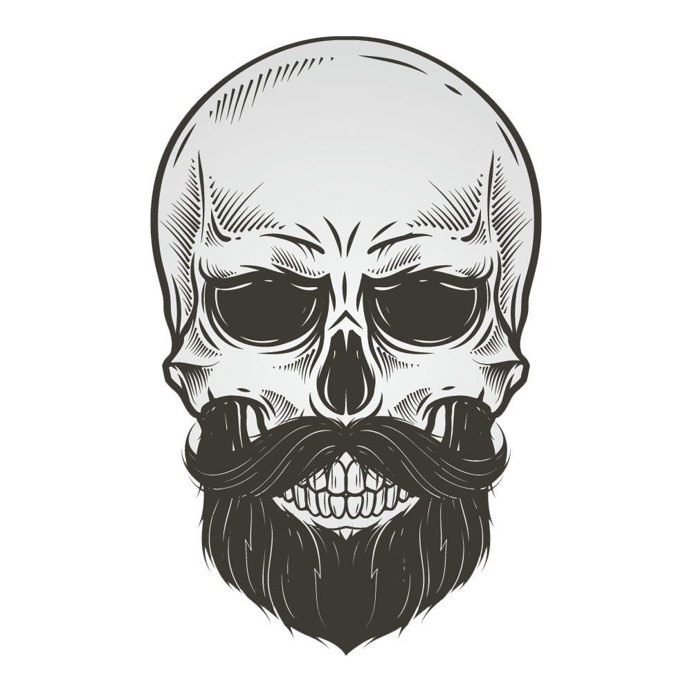Bearded Skull Illustration Vector Drawing Beard PNG Image