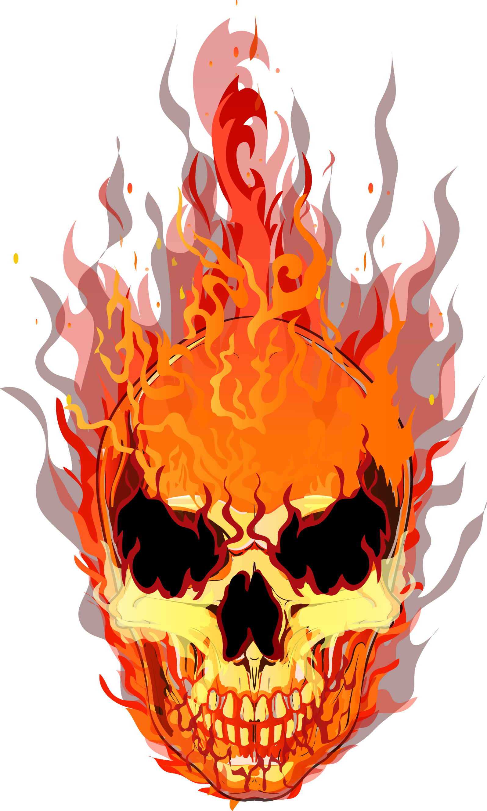 T-Shirt Fire Vector Flame Skull Download HQ PNG PNG Image