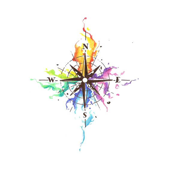 Idea Watercolor Abziehtattoo Compass Painting Cartoon PNG Image